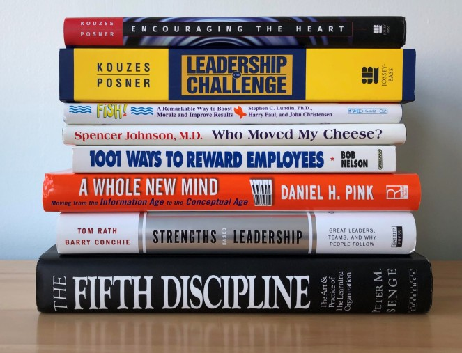 stack of 8 management books