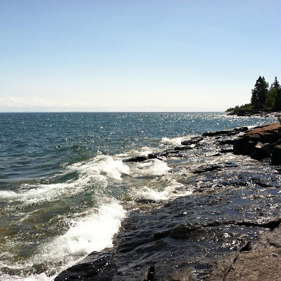 waves on rocky shoreline