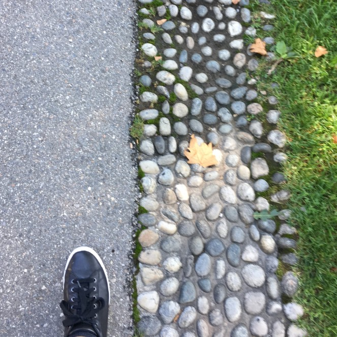sidewalk with one black shoe walking next to stone gutter